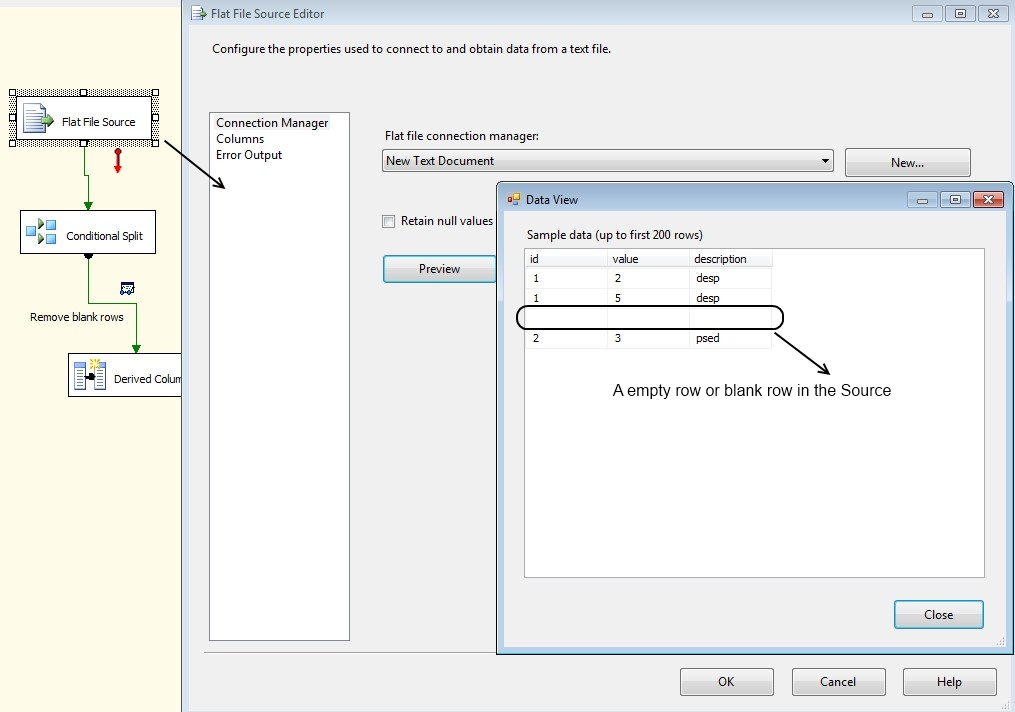 How to remove blank rows or empty rows in SSIS Data Flow